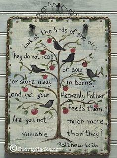 Birds Sign Bible Scripture  Rustic Farmhouse Cottage Chic Bible Verse Bird Blackbird Crow Ravens Handpainted Art Original Artwork Apple Tree...