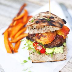 Portobello and peach burger