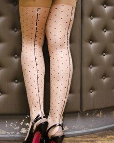 Falbala Back Seam Stockings with Cuban Heel – Swiss Dot with a Crystal Back Seam