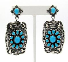 Darryl Becenti Sleeping Beauty Turquoise Sterling Concho Style Earring $315.00