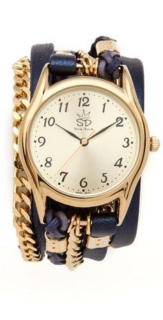 Metallic Leather & Chain Wrap Watch