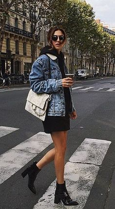 A Black Dress, a Denim Jacket, and Black Booties