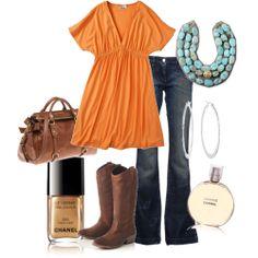 cowboy boots, orang, style, color combos, dress