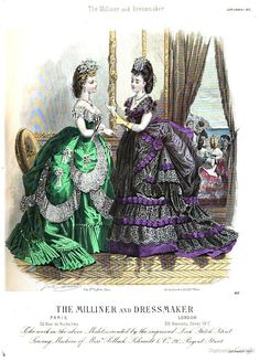 September 1870, The Milliner and Dressmaker, evening toilettes