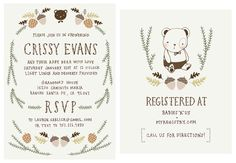 Baby Shower Invitation and Registry Card - Woodland Baby Bear.  Baby Boy.. $65.00, via Etsy.