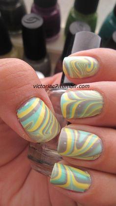 Nail art!!  Water marble.