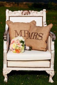 Mr. & Mrs. pillows #pillows #burlap