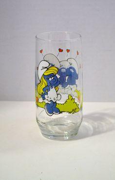 Vintage Peyo Smurfette Collector Series 1982 Glass by PanchosPorch, $6.00