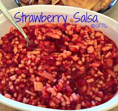 Stawberry Salsa 1lb strawberry 2 golden delicious apples 8 oz raspberries 2 T white sugar 1T brown sugar 3 T strawberry preserves  Mix and chill 1 hour ... I am thinking this would be great with cinnamon sugar chips