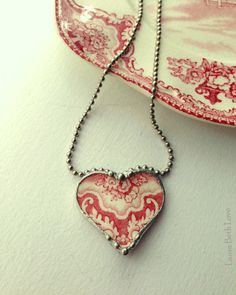 Broken china heart pendant necklace Antique lacy red English transferware broken china jewelry