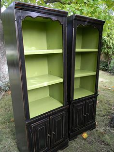 distressed black painted furniture but with kelly green inside instead of lime green. Green Interiors, China Cabinets, Painted Furniture, Black Paint, Paint Colors, Kelly Green, Accent Colors, Bright Colors, Black Furniture