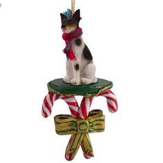 RAT TERRIER Dog CANDY CANE Christmas Ornament New DCC109  $9.94 cane ornament, dog figurin, candies, candi cane, candy canes, christma ornament, christmas ornaments, dog candi, cane christma