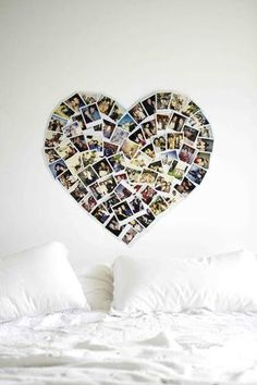 wall art, photo walls, photo displays, heart shapes, picture collages, dorm rooms, colleg, bedroom, photo collages