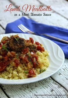 Adventures in all things food: Lamb Meatballs in Mint Tomato Sauce - April Secret Recipe Club Recipe