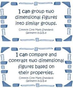 Fifth Grade Math Common Core Geometry I Can Cards for all of the 5th grade standards! $