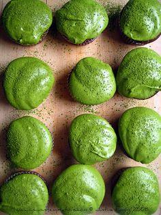 Chocolate Muffins with Matcha Icing