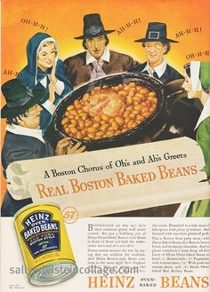 Giving thanks for Baked Beans in this charming 1930s ad. #1930s #Heinz #beans #thirties #Thanksgiving #vintage #food #ads #pilgrims