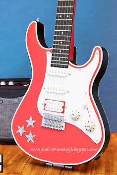 Stand-Up Guitar Cake - Jessicakes tutori, jessicakesjessica harri, christian cake, cake decor, electric guitar cake, electric guitars, charact cake, standup electr, electr guitar