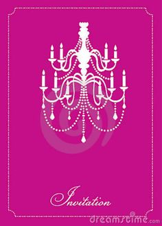 INVITATION WITH A PICTURE OF A CHANDELIER  | Template design of invitation and greeting card with chandelier.