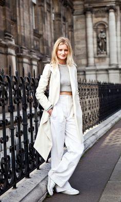 Love the dramatic wide leg, long coat and tonal whites.
