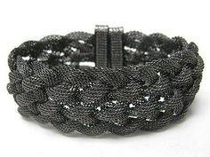 Braided Mesh Hematite Chain Magnetic Clasp Bracelet Fashion