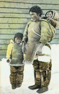 Inuit woman and children - circa 1900