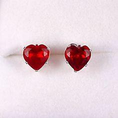 25 carats Heart Cut Red Fire Garnet CZ 7mm Stud Post by 1000jewels, $14.00
