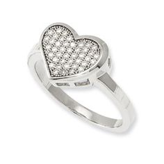 ring jewelri, cz heart, heart ring, sterling silver, silver cz, silver heart