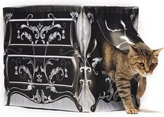 """KattySaks is an easy on-and-off kitty litter box fabric slipcover to add beauty and delight to your home.  Design: """"Le Dresser"""" <3"""