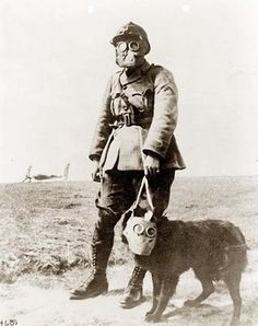 histori, gasmask, french soldier, gas masks, soldiers, dogs, wear gas, wwi, war