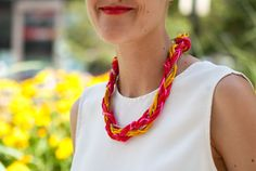 An Electric-Neon Necklace DIY Perfect For Summer #Refinery29