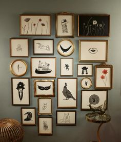 block prints, wall frames, gray walls, art, jennif ament