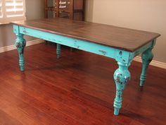 Rustic turquoise dining table.