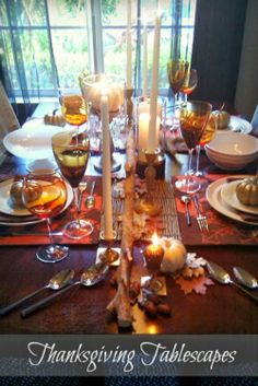 Table Tip: Just like with your home, experiment mixing metals on your Thanksgiving Tablescape - Pair thrift brass candlestick holders with silverware from #HomeGoods for a relaxed setting - Lynda Quintero-Davids #HappyByDesign #HomeGoodsHappy