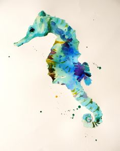 seahorse watercolor painting...