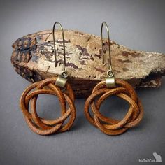 leather earrings celtic knot earrings brown earrings
