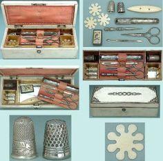 Antique Child's Sewing Box, Thimbles & Tools * German * Circa 1860