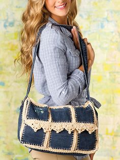 What's New - Crochet - Upcycled-Jean Messenger Bag