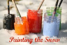 painting the snow - happy hooligans winter snow, idea, craft, little people, happi hooligan, paint brushes, paintings, winter activities, kid
