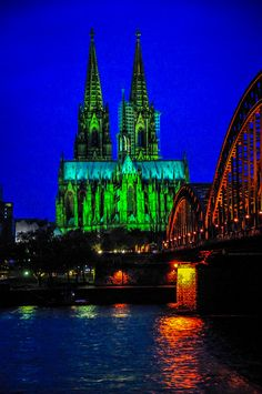 Cologne Cathedral and Hohenzollern Bridge at Night - Cologne Germany. Our tip for things to do in Cologne: http://www.europealacarte.co.uk/blog/2011/04/22/things-to-d-cologne/
