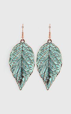 Folio Earrings in Patina