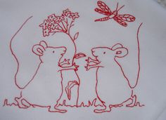 Mice redwork Embroidery by Norththreads, via Flickr