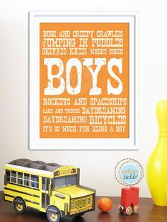 Boy Art print Boys Will Be Boys 8.5X11 Inches Nursery Decor Boys rooms, Playrooms Children. $20.00, via Etsy.