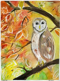oil pastel resist. color yellow and white on some leaves, owl outline some of the tree then water color the rest.