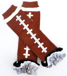 Football Ribbon Ruffle  Leg Warmers baby by sydneysbowtique, $10.99