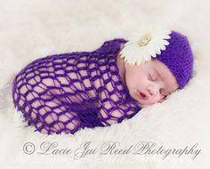 Puple Crochet Lace Newborn Wrap & Hat - Photo Prop - Baby Crochet Wrap - Baby Crochet Hat. $25.00, via Etsy.