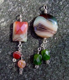 Agate and crystal pendants