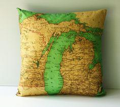 Michigan state vintage map cushion