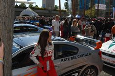 Kate del Castillo checks out her Scion tC at the 2012 Toyota Pro/Celebrity Race in Long Beach. #TPCR