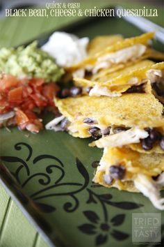 Quick & Easy Black Bean, Cheese & Chicken Quesadilla | Tried and Tasty